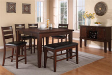 54 Yvette Antique Walnut Counter Height Table Set