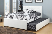 Adena White Faux-Leather Twin Bed w/ Trundle