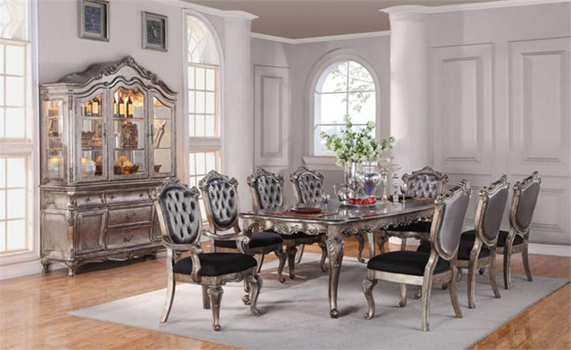 112\  Avignon Antique Platinum Dining Table Set for 10 & 112 Avignon Antique Platinum Formal Dining Table Set | Table for 10