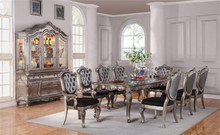 "112"" Avignon Antique Platinum Dining Table Set for 10"
