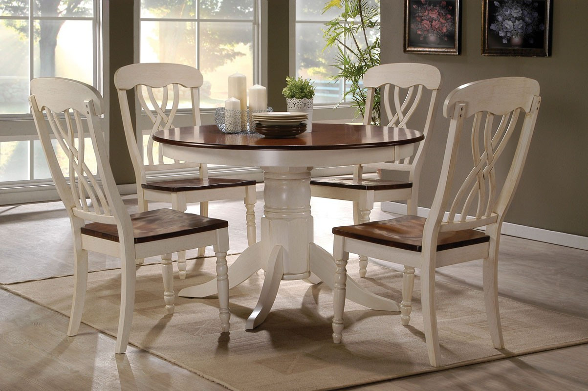 42 lander oak buttermilk round kitchen table set table for 4 for White kitchen table set