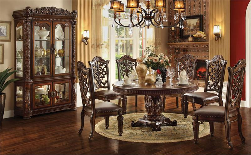 Charmant Lancaster Cherry Round Pedestal Dining Table | Luxurious 60 Inch Round  Dining Table Set