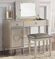 Charlotte Makeup Table Set with Flip Top Mirror in Silver