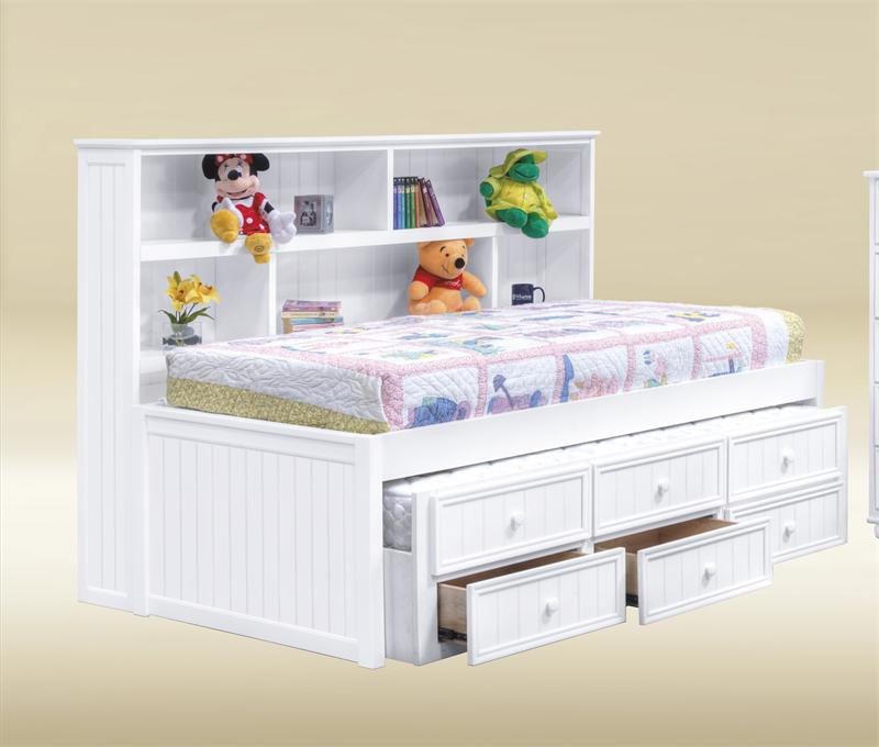 Bianca white twin size bookcase bed trundle bed for Big w bedroom storage
