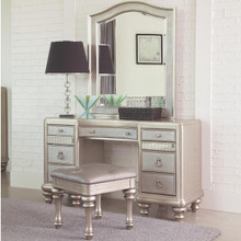 Lex Metallic Platinum Dressing Table with Mirror and Drawers