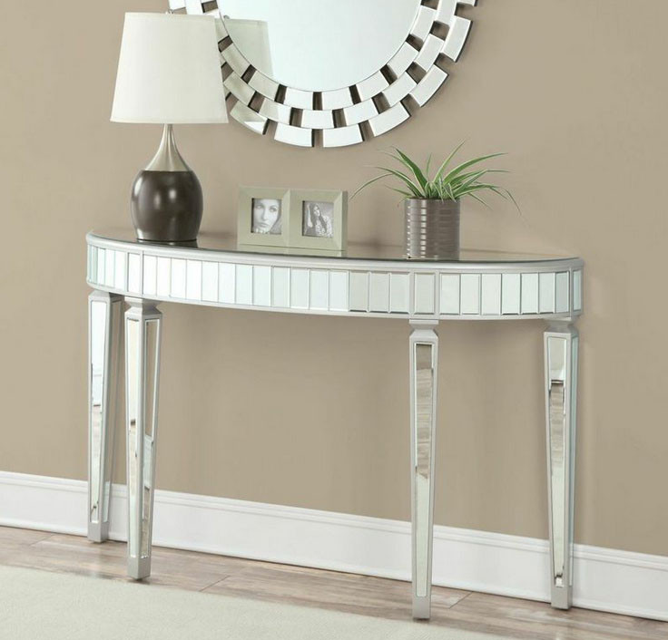 Silver And Gold Curved Makeup Console Table
