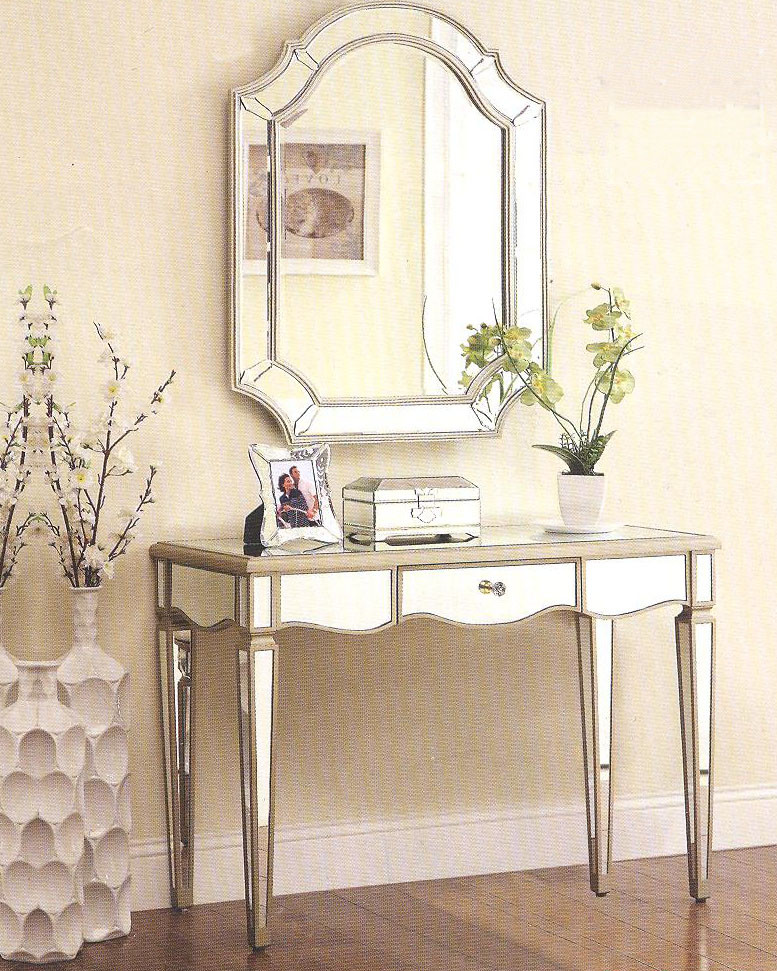 Zola antique silver mirrored vanity console desk for Silver vanity table