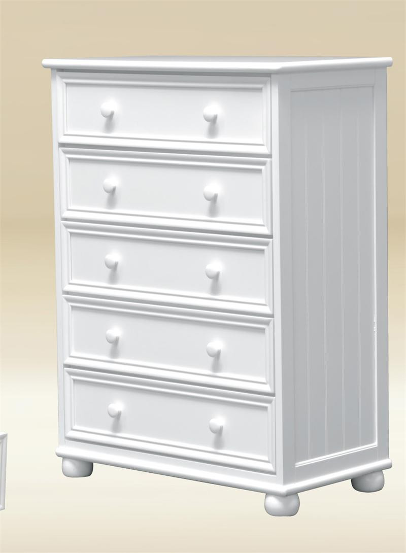 Montclair White Bead Board 5-Drawer Chest of Drawers