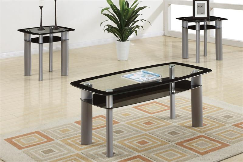 kali glass black silver coffee table set coffee and 2 end tables. Black Bedroom Furniture Sets. Home Design Ideas