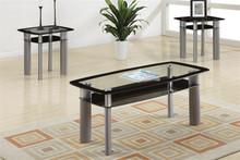 Kali Glass Black Chrome Coffee Table Set