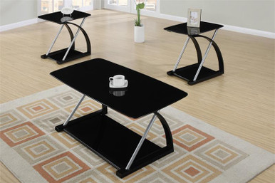 Lyna Glass Black Chrome Coffee Table Set Occasional Tables