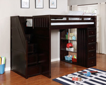 Dillon Full Loft with Chest of Drawers and Steps