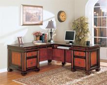 Chomedey Traditional 2 Tone L-Shaped Desk