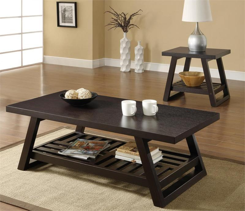 Vintage Casual Coffee Tables: Rich Brown Casual Coffee Table, Trestle Style Coffee Table