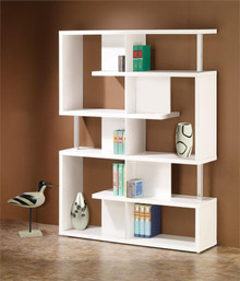 Contemporary Chrome White Bookcase
