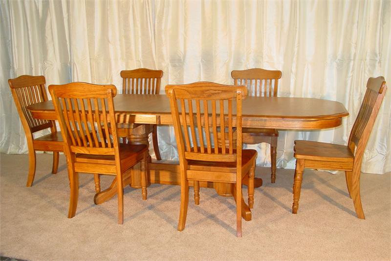 & Solid Oak Double Pedestal Table with Spindle Chairs