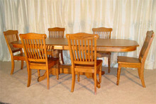 Solid Oak Double Pedestal Table with Spindle Chairs