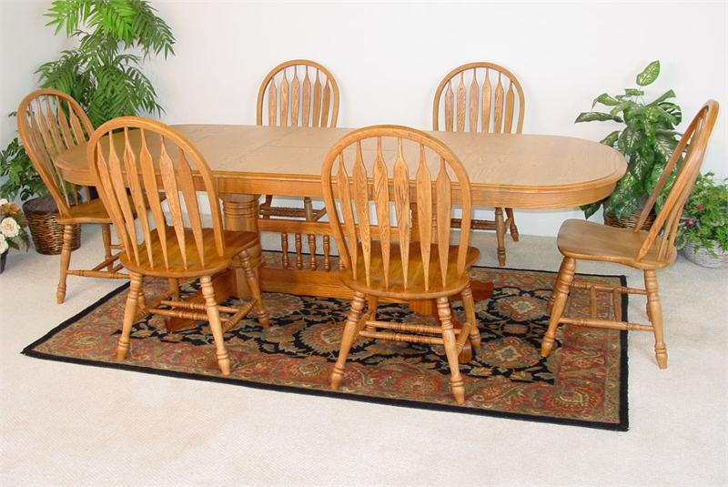 Solid Oak Double Pedestal Table With ArrowBack Chairs - Solid oak double pedestal dining table