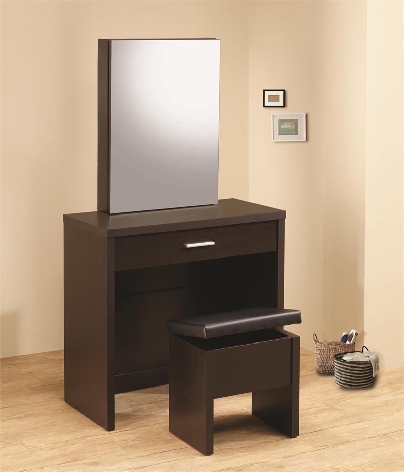 Taylor glossy cappuccino vanity desk set for Vanity desk set