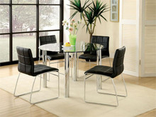 Lynette Round Glass Black Chrome Dinette Set | Dinette Set