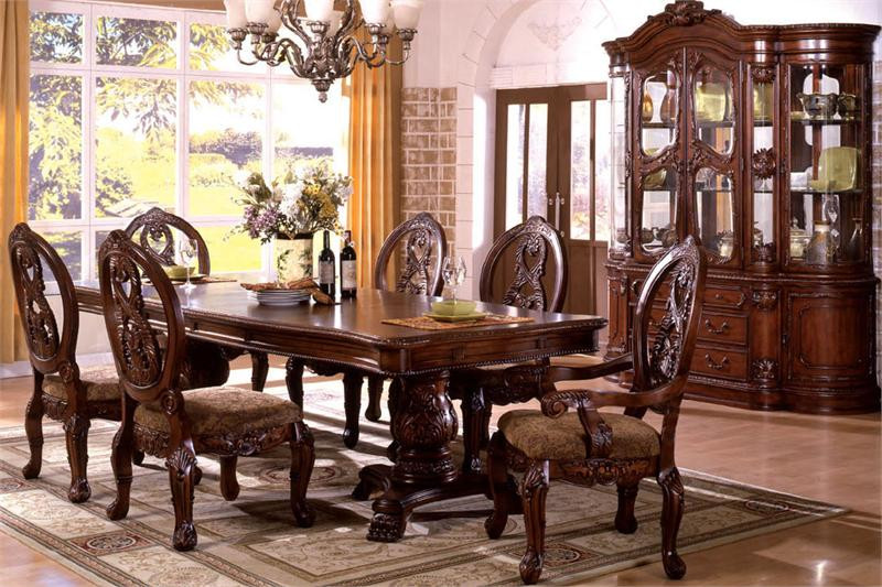 Tuscany Antique Cherry Traditional Pedestal Dining Table Set ...