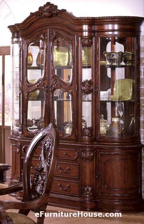 Tuscany Antique Cherry Dining Room Set For 8 · China Cabinet