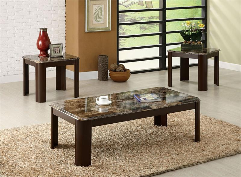 Faux Marble Dark Cherry Coffee Table Set