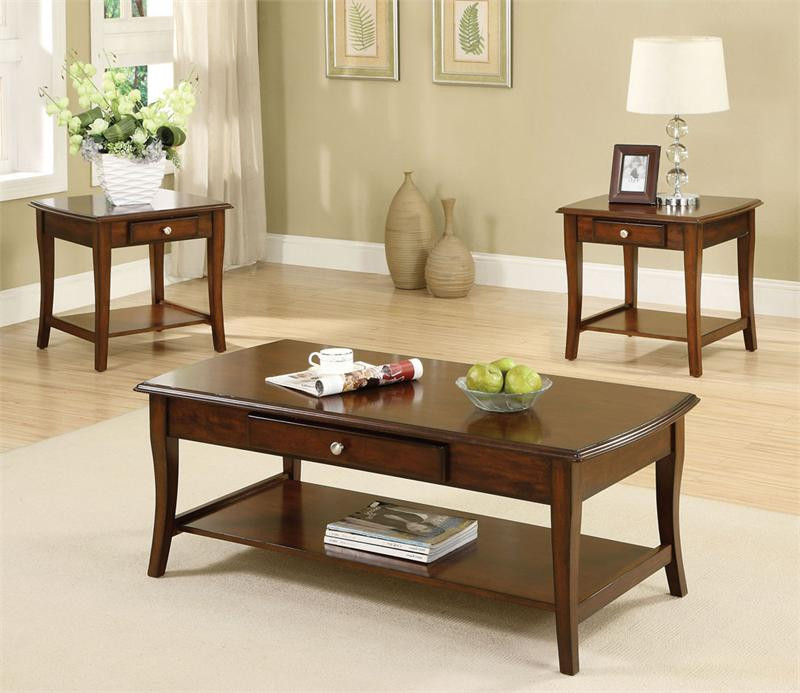 48quot lincoln park dark oak coffee table set orange county ca With dark oak coffee table sets