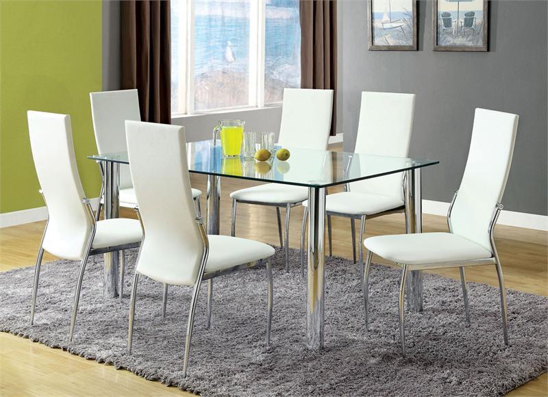Beautiful Lowan Glass White Chrome Dining Table Set