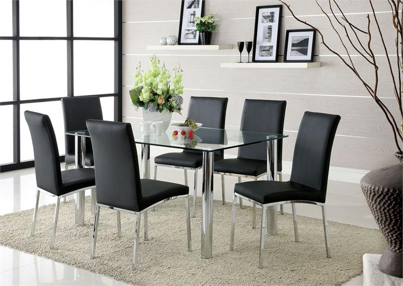 contemporary kitchen chairs uk 59 quot lucetta rectangular glass chrome black dining table set 5704