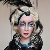 Handmade Marionette - Lady in Black (Short Blond Hair)