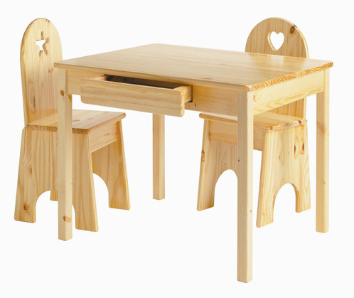 Little Colorado Table & Chair Set Natural Finish Solid Back Chairs Optional Cutouts