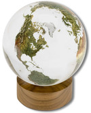 Shasta Visions Clear Crystal Globe - 6 Inch Diameter on Wooden Base (191-CL)