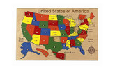 Hollow Woodworks USA Map Puzzle.  This Peg Puzzle is made of maple with capital cities listed under puzzle pieces.