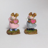 Wee Forest Folk Miniature - I'm Yours (M-80b) in gray shimmer or pink dress.