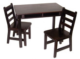 Lipper International Child's Rectangular Table with Shelves and 2 Chairs - Espresso