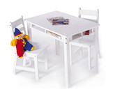 Lipper International Child's Rectangular Table with Shelves and 2 Chairs - White