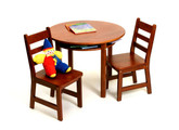 Lipper International Child's Round Table with Shelf and 2 Chairs - Cherry