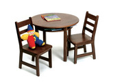 Lipper International Child's Round Table with Shelf and 2 Chairs - Walnut