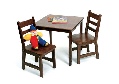 Lipper International Child's Square Table and Chairs 3-Piece Set - Walnut Finish