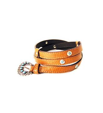 ABACO Tan & Turquoise Studded Skinny Belt