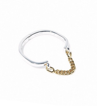 Giles + Brother Gold Stirrup Hinge Chain Cuff