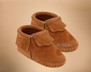 Infant moccasins riley brown baby moccs
