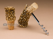 Faux antler cork screw and bottle topper set.