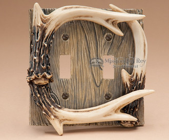 Faux Deer Antler Light Switch Cover Double