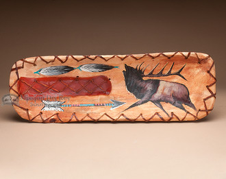 Laced and Rawhide Painted Bowl - Elk
