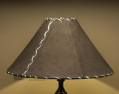 """Western Leather Lamp Shade - 20"""" Brown Pig Skin"""