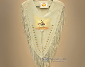Genuine Leather Fringed Dance Vest -Hand Painted End Of Trail