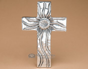 "Rustic Pewter Southwest Wall Cross 7"" -Sun Flower (c18)"