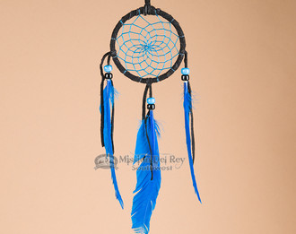 Native American blue webbed dream catcher.